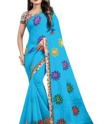 Buy Sky blue embroidered cotton saree with blouse