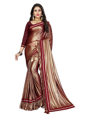 Maroon plain lycra saree with blouse