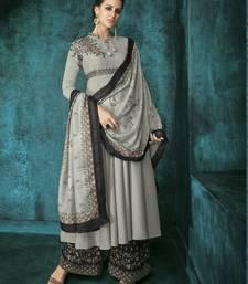 Light-grey embroidered silk salwar