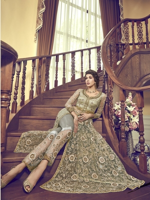 Light-olive embroidered net salwar