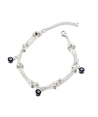 Silver Evil Eye Multi Layered Anklet