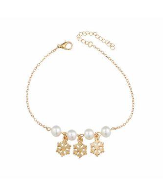Crystal Snowflake Pearl Anklet
