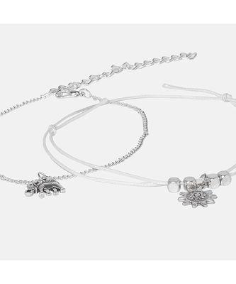Ophia Silver Anklet - 2 Pcs Anklet Set