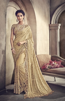 Light yellow embroidered net saree with blouse