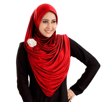Anarkali semi-stitched hijab red size xl