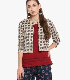 ef27cb45a23 Beige Cambric Printed 3 4th Sleeved Shrug for Women. Shop Now