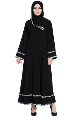 Black Plain Crepe Full Umbrella Abaya With Hijab