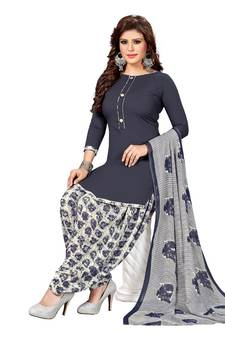 b051ce65b73 Grey Printed synthetic unstitched salwar with dupatta