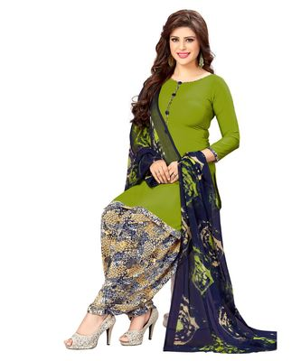a8727a2ba6 Green Printed synthetic unstitched salwar with dupatta - Ishin - 2924663