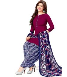 Wine Printed synthetic unstitched salwar with dupatta