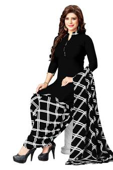 Black Printed Synthetic Unsched Salwar With Tta