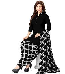 c5235c9d9f98 Black Printed synthetic unstitched salwar with dupatta. Shop Now
