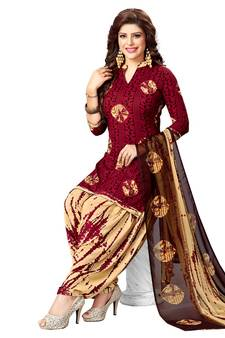 3ea11c4ce06 Maroon Printed synthetic unstitched salwar with dupatta