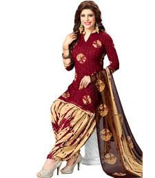 Maroon Printed synthetic unstitched salwar with dupatta