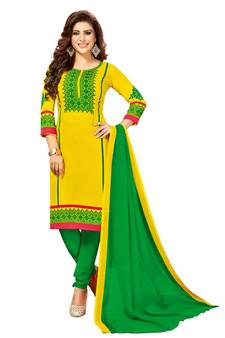 ae4ab7f3739 Yellow Printed synthetic unstitched salwar with dupatta. Shop Now