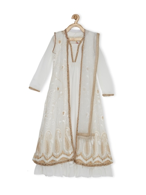 White Embroidered Net Kids Gowns