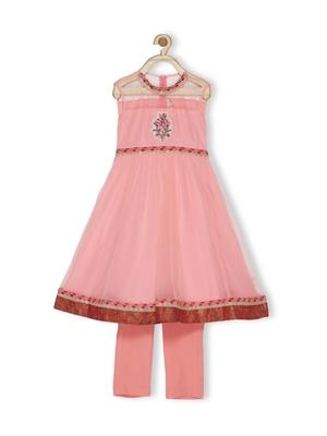 Pink Embroidered Net Kids Salwar Suits