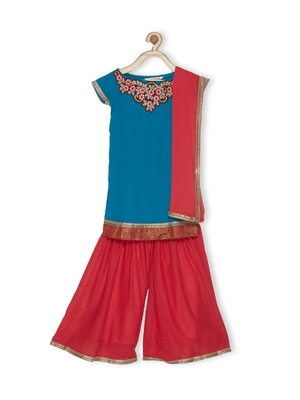 Blue Embroidered Faux Georgette Kids Salwar Suits