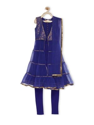 Blue Woven Net Kids Salwar Suits