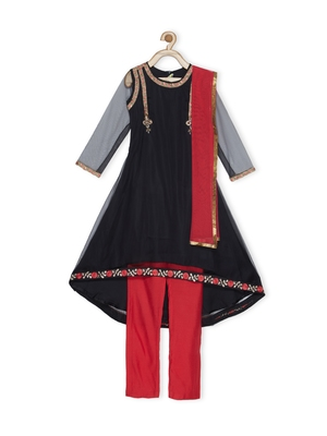 Black Embroidered Net Kids Salwar Suits