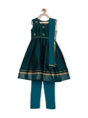 Green Embroidered Taffeta Kids Salwar Suits