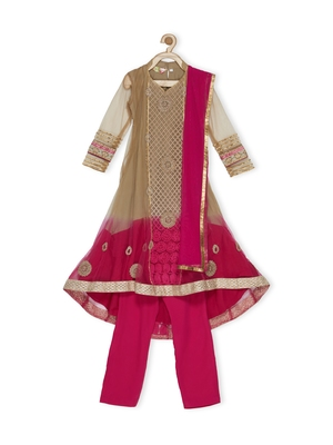 Gold Embroidered Net Kids Salwar Suits