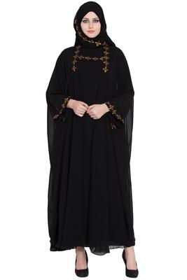 Double Layered Kashiboo Solid Abaya With Hijab