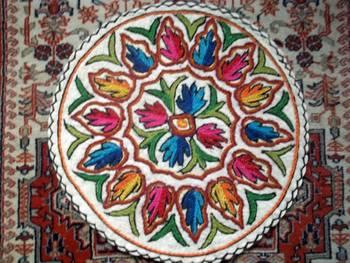 kashmir aari embrpoidered felt weave rug