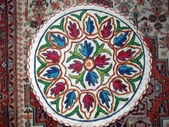 round namdha rug 2 feet embroidered