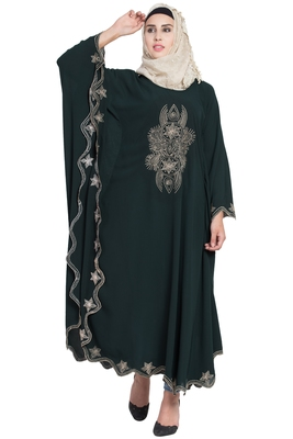 Bottle Green Crepe Embroidered Irani Kaftan Abaya With Hijab