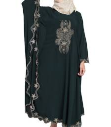 Bottle Green Crepe Embroidered Irani Kaftan Abaya With Hijab