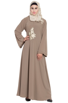 Beige Color Embroidered Crepe Solid Abaya With Hijab