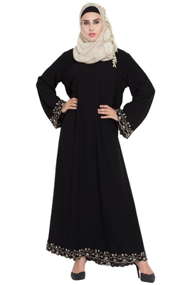 Black Embroidered Crepe Solid Abaya With Hijab
