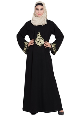 Black A-Line Embroidered Crepe Solid Abaya With Hijab