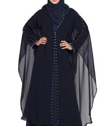 Black Double Layer Crepe Solid Abaya With Hijab