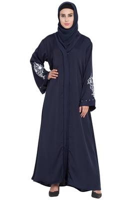 Blue Front Open Nida Solid Abaya With Hijab