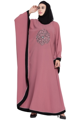 Pink Embroidered Designer Crepe Solid Kaftan Abaya With Hijab