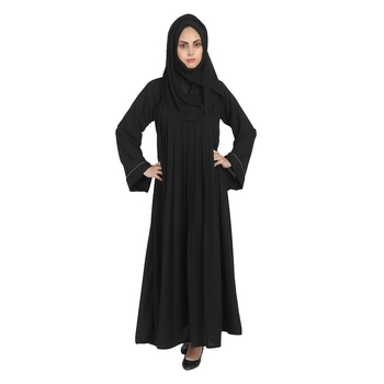 Black A-Line Crepe Solid Abaya With Hijab
