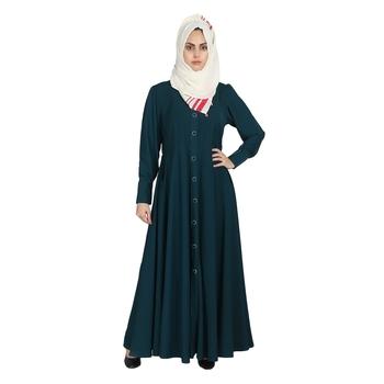 Rama Green Double Side Pocket Crepe Abaya With Hijab