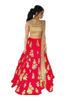 e6b74412fc Red Embroidered Taffeta silk semi stitched lehenga. Shop Now