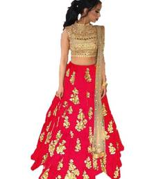 Red Embroidered Taffeta silk semi stitched lehenga
