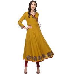 MUSTARD Women's Cotton Slub Angrakha Style Anarkali Kurta