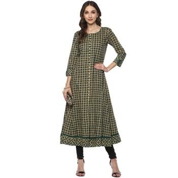 GREEN Women's Cotton Checks Print Anarkali Kurta