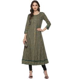 GREEN Women's Cotton Checks Print Anarkali Kurta