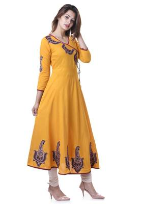YELLOW Women's Rayon Anarkali Patch Work Kurta