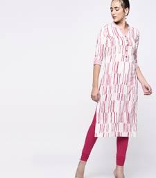 PINK Women's Cotton Flex Printed Straight Kurta