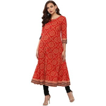 RED Women's Cotton Bandhej Print Anarkali Kurta