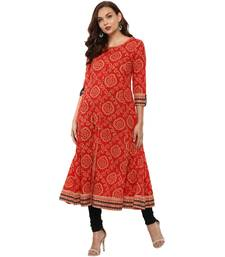 RED Women's Cotton Bandhej Print Anarkali Kurta