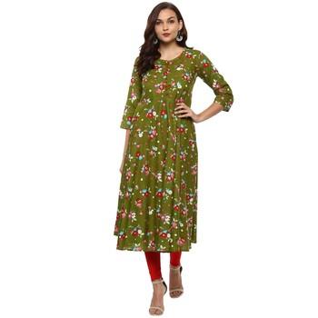GREEN Women's Cotton Floral Print Anarkali Kurta