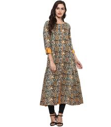 MUSTARD Women's Cotton Kalamkari Print Anarkali Kurta